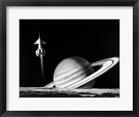 Framed 1960s Space Rocket Flying Past Saturn