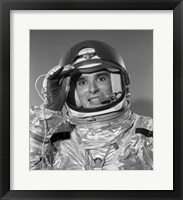 Framed 1960s Portrait Of Saluting Astronaut In Space?