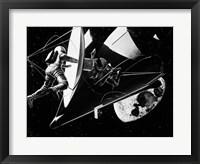 Framed Illustration 1960s Weightless Astronauts Eva