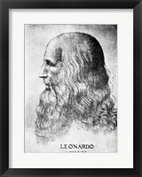 Framed Self Portrait Of Leonardo Da Vinci Circa 1512