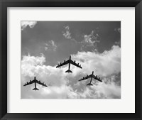 Framed 1950s Three B-52 Stratofortress Bomber Airplanes