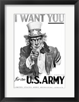 Framed 1910s World War One I Want You Uncle Sam