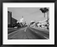 Framed 1960s Street Scene West Wilshire Blvd Los Angeles, California