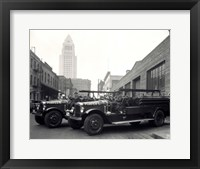 Framed 1920s 1930s Two Fire Trucks