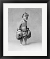 Framed 1930s Baby Boy Toddler Wearing  Boxing Gloves