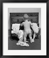 Framed 1930s Rear End View Of Naked Baby