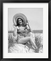 Framed 1920s 1930 Smiling Bathing Beauty