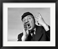 Framed 1950s Baseball Umpire Calling A Strike
