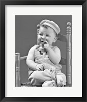 Framed 1940s Baby Sitting Chair Holding Cigar