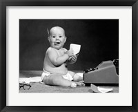 Framed 1960s Eager Baby Accountant Working At Adding Machine