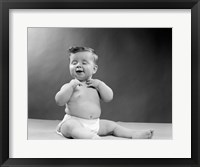 Framed 1950s Baby Seated With Eyes Closed