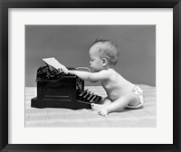 Framed 1940s Baby In Diaper Typing