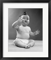 Framed 1950s Baby Sitting Funny Face Expression
