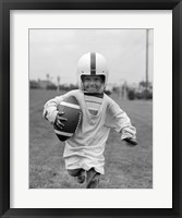 Framed 1950s Boy In Oversized Shirt And Helmet