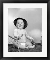 Framed 1960s Baby Girl Wearing Fishing Hat