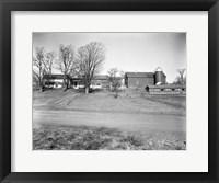 Framed 1920s Rural Farmhouse Farm Barn And Barnyard