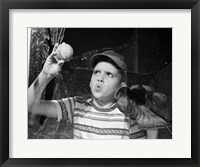 Framed 1950s Boy In Tee-Shirt And Cap