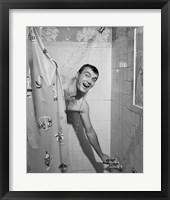 Framed 1950s Man In Shower
