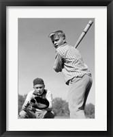 Framed 1950s Teen Boy At Bat