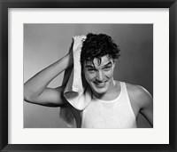 Framed 1950s Man Drying Hair