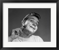 Framed 1950s Young Man Shaving With Safety Razor