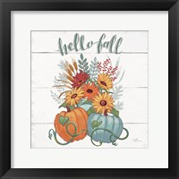 Framed Fall Fun II - Gray and Blue Pumpkin