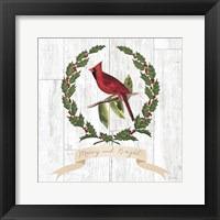 Framed Joyful Tidings VIII on Distressed Wood