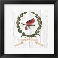 Framed Joyful Tidings VII on Distressed Wood