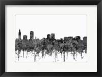 Framed Baton Rouge Louisiana Skyline - Cartoon B&W