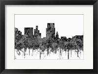 Framed Boise Idaho Skyline - Cartoon B&W