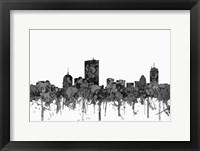 Framed Boston Mass Skyline - Cartoon B&W