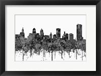 Framed Buffalo New York Skyline - Cartoon B&W
