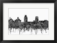 Framed Camden New Jersey Skyline - Cartoon B&W