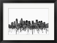 Framed Charlotte NC Skyline - Cartoon B&W