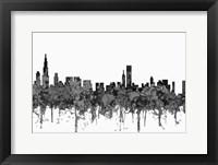 Framed Chicago Illinois Skyline - Cartoon B&W