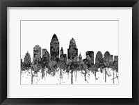 Framed Cincinnati Ohio Skyline - Cartoon B&W