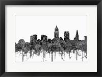 Framed Cleveland Ohio Skyline - Cartoon B&W