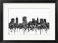 Framed Columbus Ohio Skyline - Cartoon B&W