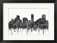 Framed Denver Colorado Skyline - Cartoon B&W