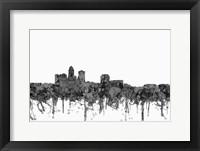 Framed Des Moines Iowa Skyline - Cartoon B&W
