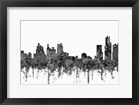 Framed Detroit Michigan Skyline - Cartoon B&W