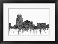 Framed Durham North Carolina Skyline - Cartoon B&W