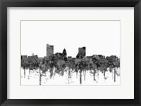 Framed Fort Wayne Indiana Skyline - Cartoon B&W