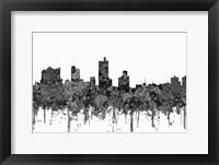 Framed Fort Worth Texas  Skyline - Cartoon B&W