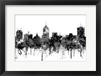 Framed Fresno California Skyline - Cartoon B&W