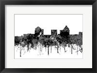 Framed Greensboro North Carolina Skyline - Cartoon B&W
