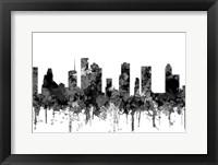 Framed Houston Texas Skyline - Cartoon B&W