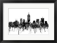 Framed Indiana Indianapolis Skyline -Cartoon B&W