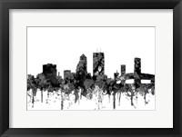 Framed Jacksonville Florida Skyline Cartoon B&W