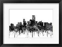 Framed Jersey City New Jersey Skyline-  Cartoon B&W